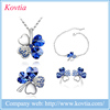 Wholesale Fashion Chic Four Leaf Shape Crystal Necklace Jewelry Women Dubai 18K Gold Jewelry Sets Design