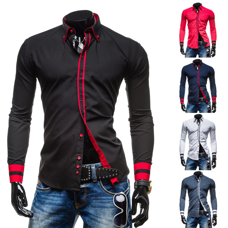 Fashion Mens fashion <strong>Shirts</strong> Covered Placket Contrast Color Long Sleeve <strong>Shirt</strong> Men Slim Fit Tops Camisa Masculina Chemise for who