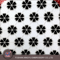 Guangzhou factory supply laser and embroidery black flower pattern pure wholesale chiffon fabric
