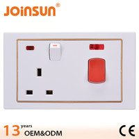 45A wall socket with 3 pin metal clad switch socket
