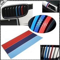 Carbon Fiber Car M-Colored Stripe Decal Vinyl Sticker For BMW Exterior or Interior Decoration