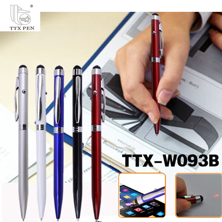 2018 Promotional led light Touch stylus Aluminium metal pen with logo