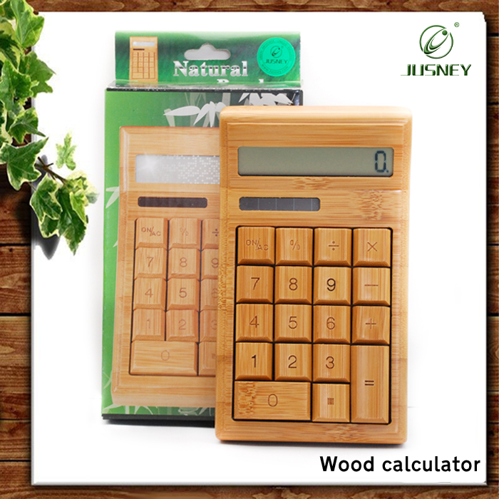 Factory wholesale Fancy 12 digit Solar Bamboo Wooden Calculator