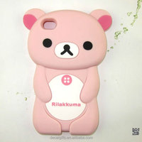 Lovely custom 3d epoxy animal shape environmental silicone moblie phone case for iphone