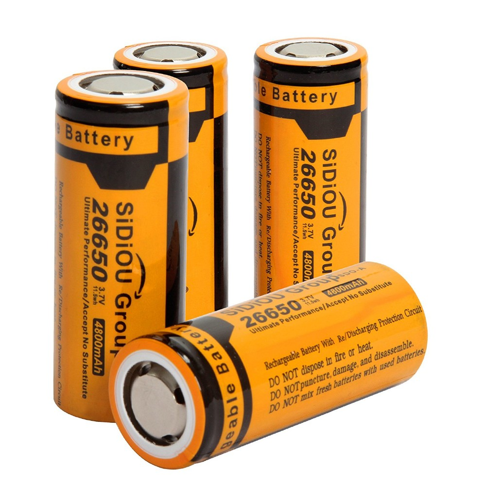 Sidiou Group 3.7V 4800mAh 26650 Battery Rechargeable Lithium Ion Battery (A Set of 2 Pieces)