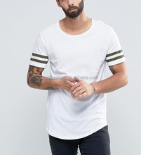 Hot Sale Promotion Fashion Cotton Jersey T Shirt Cheap Longline T-shirt with Arm Stripes and Curved Hem
