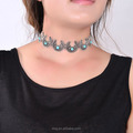 Bohemia Choker Antique Silver Plated OX Horn Turquoise Moon Necklace Choker