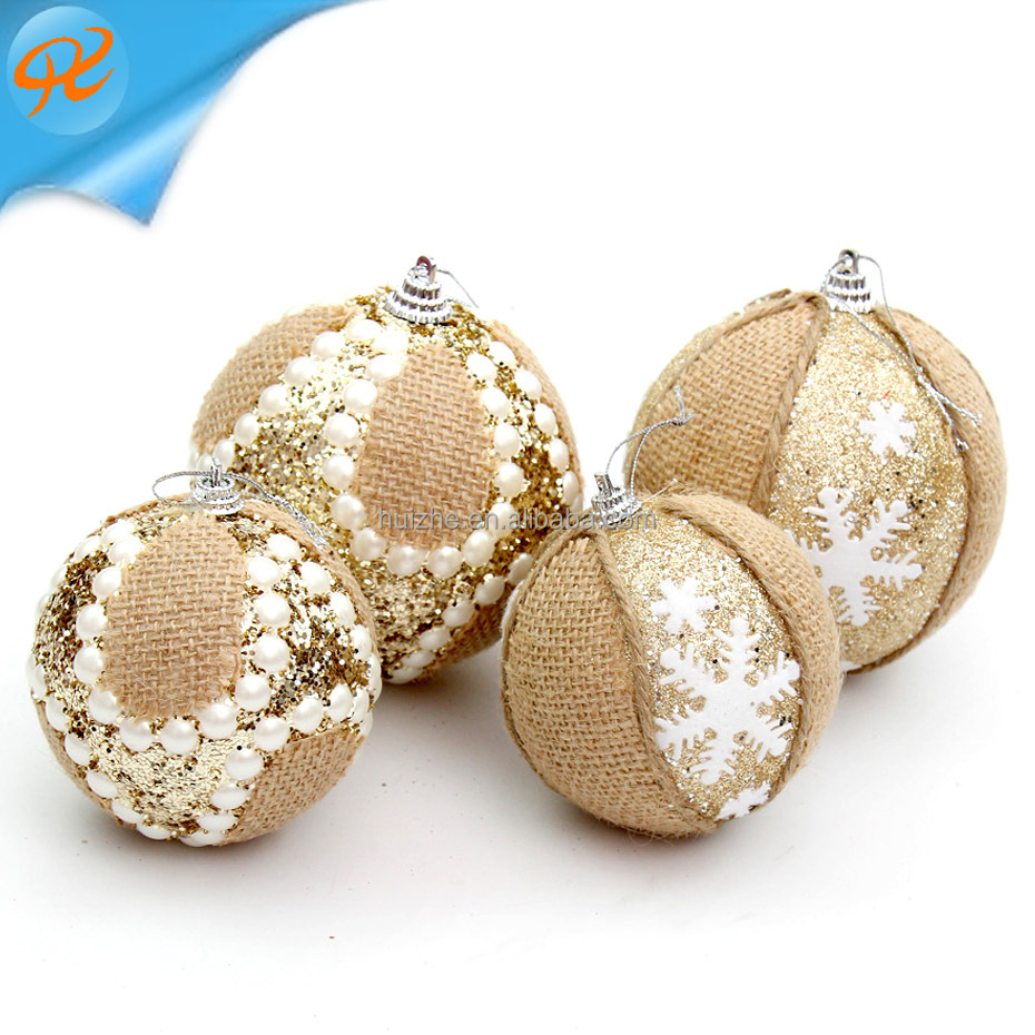 8cm linen snowflake Christmas ball 10cm champagne pearl sticky diamond high-end ball