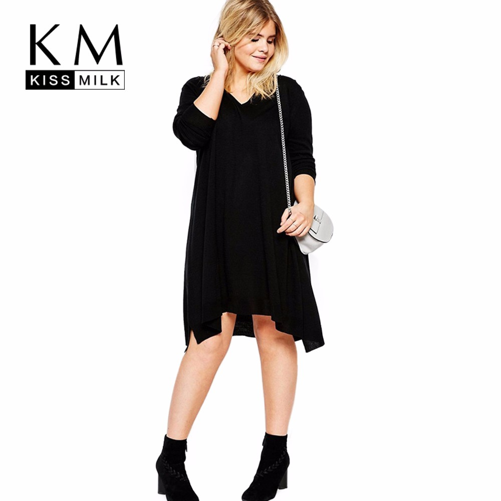 Kissmilk Plus Size Fashion Women Clothing Casual Sweater Solid Streetwear Pullovers Loose Slim Big Size Sweater For Wholesale