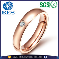 Fashion Jewelry Wholesale 4mm Women's Ring Silver/Gold/Black/Rose Gold Plated Stainless Steel CZ Zircon Engagement Wedding Ring