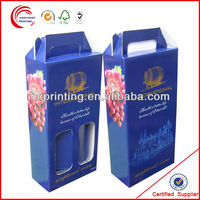 custom design empty 2 bottle cardboard wine box
