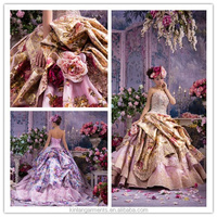 FL-0004 Luxurious High Quality Colorful Wedding Dress With Flower Decoration