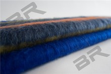 solution dyed mohair wool acrylic polyester stripe fabric with knitted technic