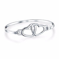 Fashion 14K White Bangle Gold Round Joined Double Heart Bracelet Women