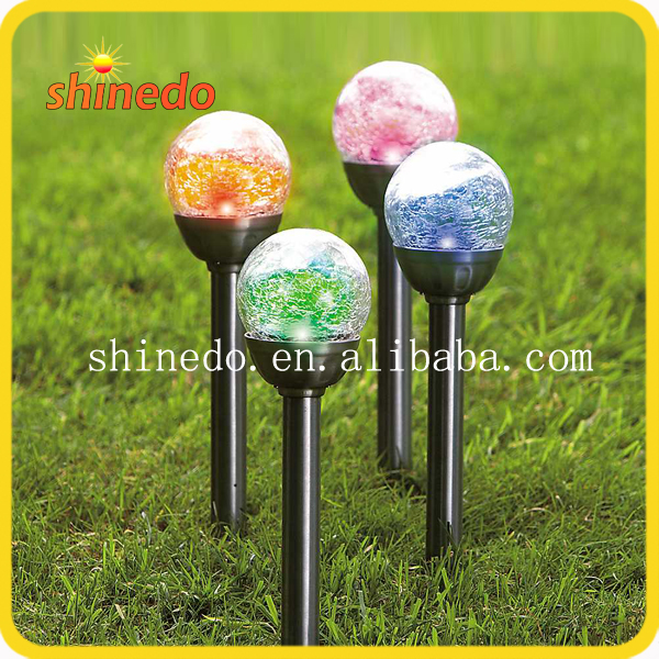 Garden Lawn Stake Crackle Color Changing Solar Glass Ball Garden Light