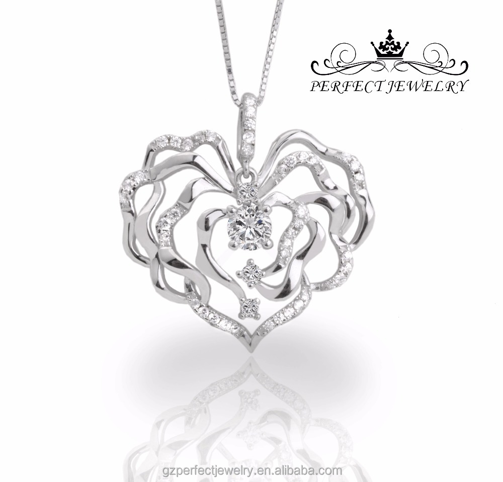 Perfect jewelry 2016 wholesale personalized 925 sterling silver hollow heart pendant for men and women