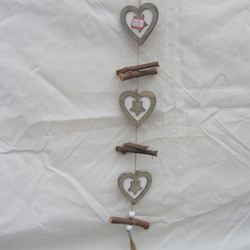 Natural small wood crafts heart made of wood decorated with sticks