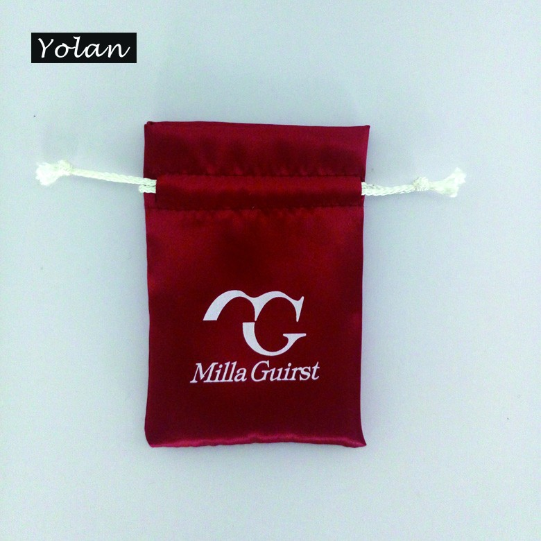 Red Satin Drawstring Bag for Necklace packaging