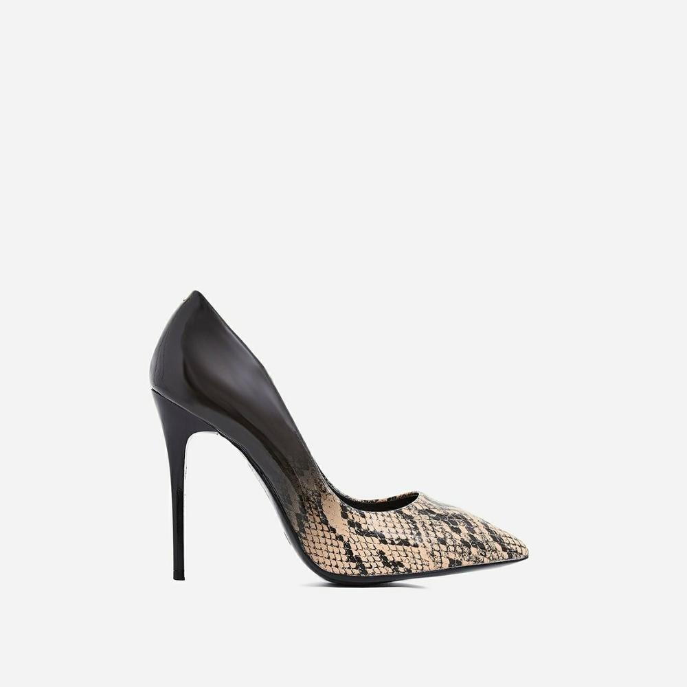 Python print gradient ramp upper pointed toe snake dress ladies shoes <strong>heels</strong> women high <strong>heel</strong> pumps schuhe