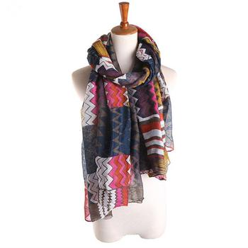 Wholesale Fashionable Women Chevron Aztec Print Pattern Long Scarf