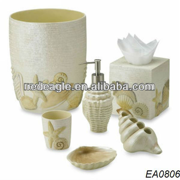 EA0806 sea shell bathroom set accessory for home/bathroom decoration made of resin from shenzhen factory