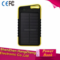 Square Black-Yello Solar Panel 12000mah Portable Backup Power Bank Pack Water Shock Dual USB Charger External Battery Power Bank