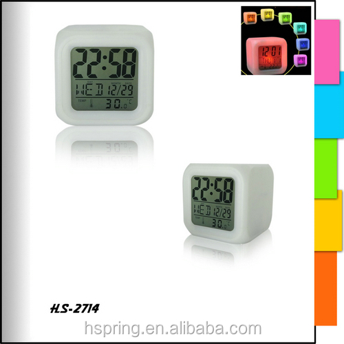 Square alarm 7 color changing led light clock