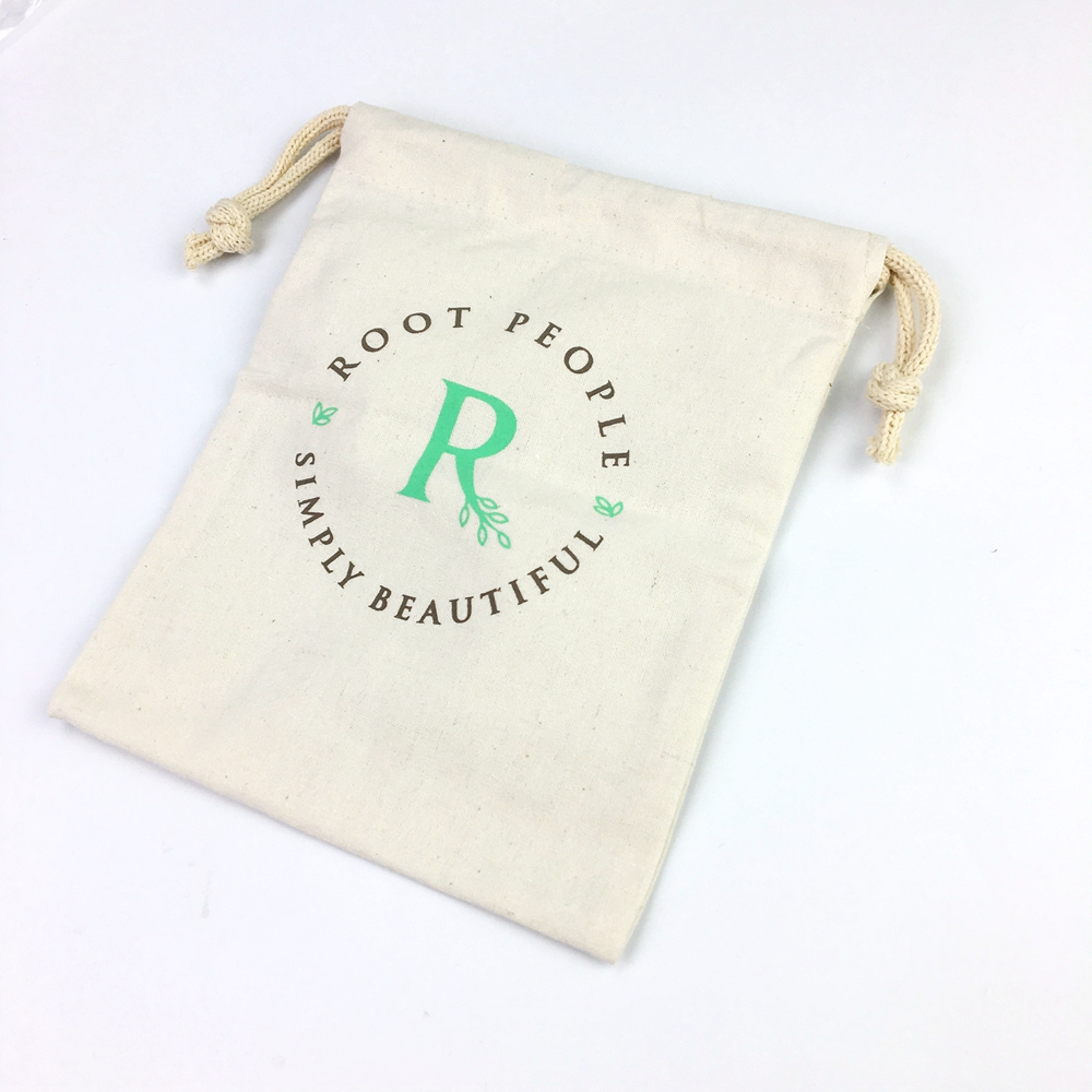 cotton canvas fabric muslin drawstring bag with custom logo printed canvas drawstring bag