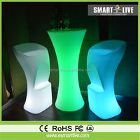 high top LED bar table LED lighting furniture commercial furniture for bar / led table chair lighting