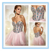 Crystals Tulle Sweetheart Neckline Teenage Cocktail Dresses Party Dress(EVFA-1033)