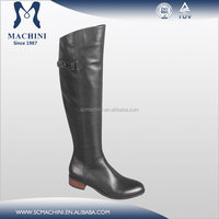 Machini factory provide black genuine leather knee high boots with low heels