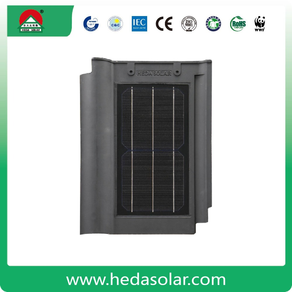 Eco-friendly 8w wave solar tile PV tile solar roof shingle