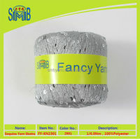 oeko-tex quality china SMB fashion yarn manufacturer hot selling low price 100 sequin yarn for knitting