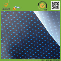 polyester 190T taffeta small dots design print lining fabric for women coat wholesaler