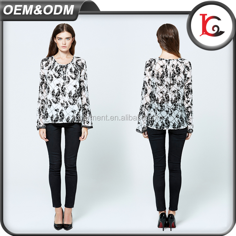 hot sale summer printed chiffon woman blouse & top sweet lace simple design lady blouse