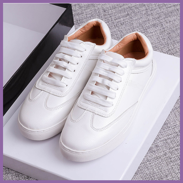 Wholesale high quality leather women shoes casual flat sneakers white 2017
