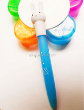 rabbit clip plastic push action ball pen cute promotion pen