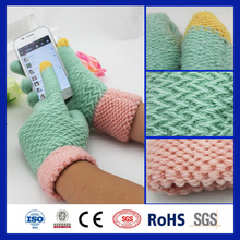 2016 lovely wholesale custom pink cuff two fingers girls' touchscreen glove magic glove for all smart phone