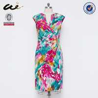 2015 all over print chinese dress style summer dress