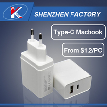 2017 Chinese 2 in 1 High Speed USB Type-C Travel Charger for Macbook USB-C Type C Cell Phone Home Charger with Eu Plug HS Code
