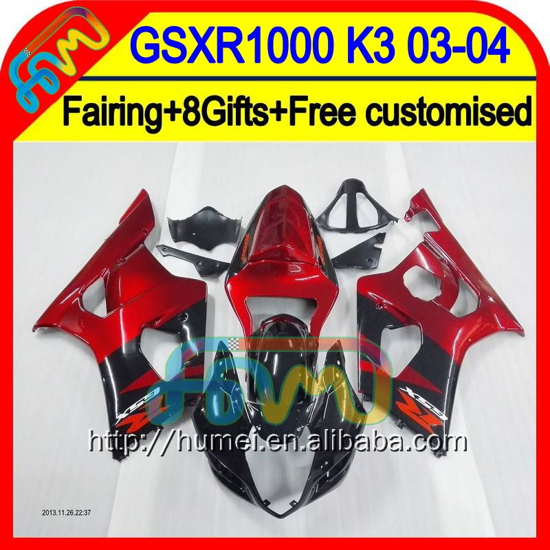 +Tank For SUZUKI Red black GSX R1000 2003 2004 K3 GSX-R1000 7#84 GSXR 1000 K3 03-04 GSXR-1000 GSXR1000 Dark red 03 04 Fairing