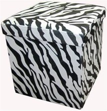 Zebra Print Storage Stool Storage Box