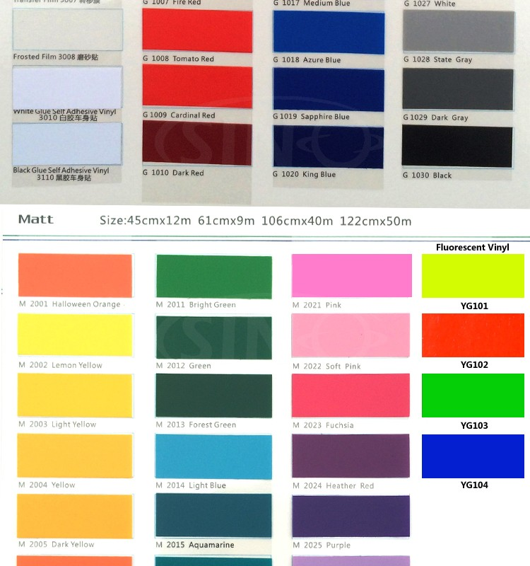 SINOVINYL Professional Use For Color PVC Cutting Vinyl Application Transfer Film