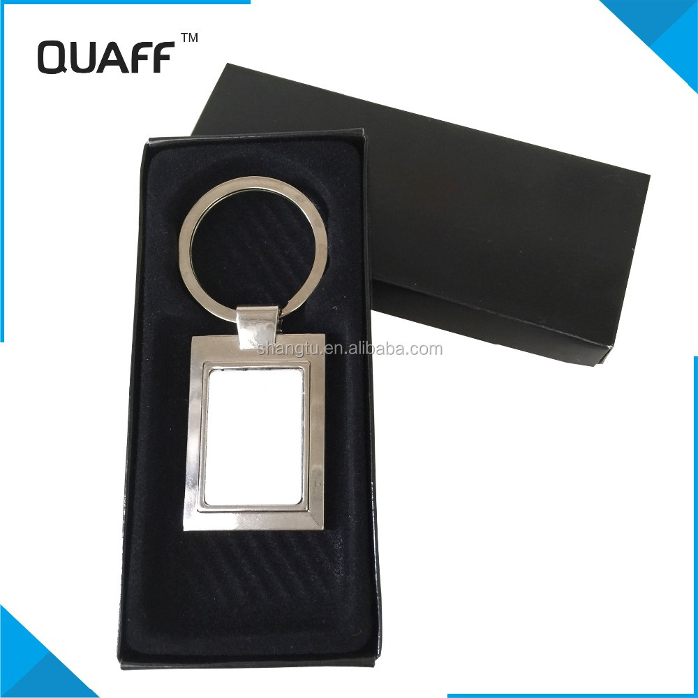 QUAFF high quality cheap metal keychain sublimation gift ,sublimation blanks