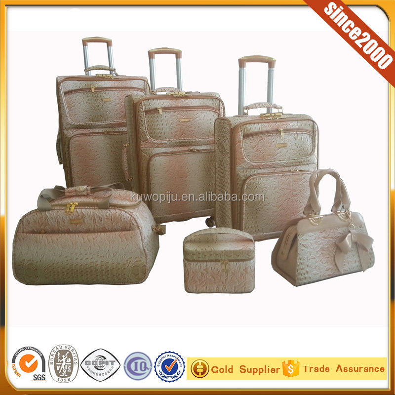 beige color crodile leather Travel 6-Piece Expandable 4 Wheel Spinner Luggage Set