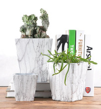 Natural style garden decoration marble square shape cement flower pot