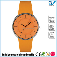 Wrist watch with strap in leather and case in steel whole yellow japan movement water resistant 3ATM luna watch reloj