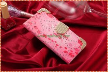 Luxury 3D Fashion Handmade Bling Diamond PU Flip Leather Mobile Phone Flip Case for iPhone6