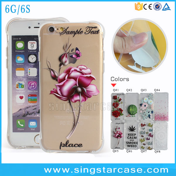 Ultra Thin Clear TPU Case Printed A Rose Mobile Phone <strong>Cover</strong> For iPhone 6 4.7/5.5 Inch