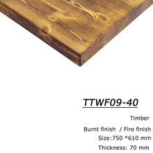 Fire Burnt finish table tops